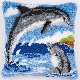 Dolphins - smyrna kussen Vervaco | Knoopkussen met dolfijnen | Artikelnummer: vvc-2560-3527