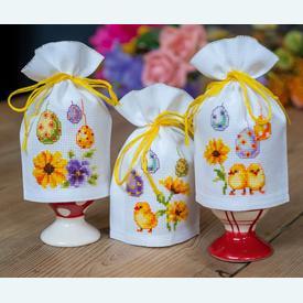 Assortiment eierhoedjes - Easter Eggs - borduurpakketten met telpatroon Vervaco |  | Artikelnummer: vvc-158161