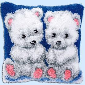 Polar Bears - smyrna kussen Vervaco | Knoopkussen met ijsbeertjes | Artikelnummer: vvc-14150