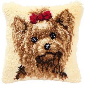 Yorkshire Terrier - knoopkussen Vervaco | Smyrna kussen met Yorkshire Terrier | Artikelnummer: vvc-2560-3551