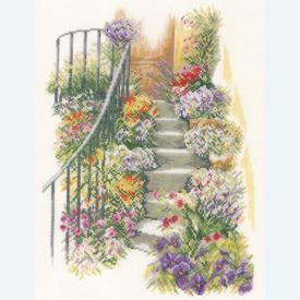 Flower Stairs - borduurpakket met telpatroon Lanarte |  | Artikelnummer: ln-169680