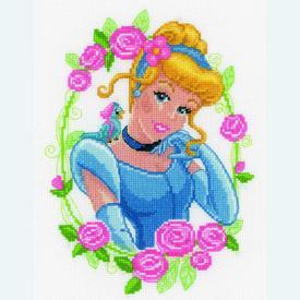Cinderella with Flower - Disney borduurpakket met telpatroon Vervaco  | telpakket met Assepoester | Artikelnummer: vvc-145095