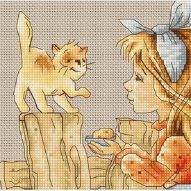 Girl with Kitten - borduurpakket met telpatroon Luca-S      Artikelnummer: luca-b1106