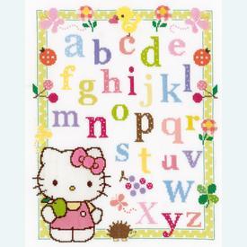 Hello Kitty - ABC - kruissteekpakket met telpatroon Vervaco |  | Artikelnummer: vvc-148694