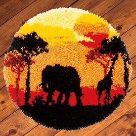 African Sunset - knooptapijt Vervaco | Smyrna tapijt met olifant en giraf in de zonsondergang | Artikelnummer: vvc-165399