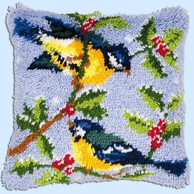 Birds on Tree Branch - knoopkussen Vervaco | Smyrna kussen met vogeltjes | Artikelnummer: vvc-14147