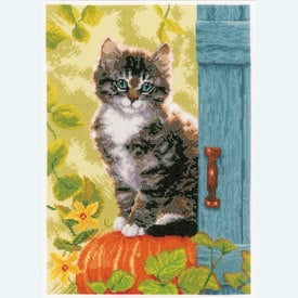 Cat and Pumpkin - borduurpakket met telpatroon Vervaco |  | Artikelnummer: vvc-158303