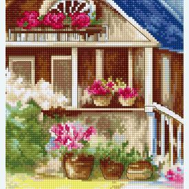 Outdoor Veranda - borduurpakket met telpatroon Luca-S |  | Artikelnummer: luca-bu4001