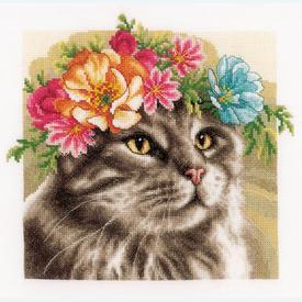 Maine Coon in Flowers - Lanarte borduurpakket met telpatroon - evenweave |  | Artikelnummer: ln-189339