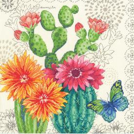 Cactus Bloom - borduurpakket met telpatroon Dimensions |  | Artikelnummer: dim-70-35388