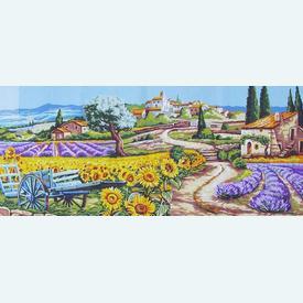 Gentle Provence - bundel van geschilderd stramien + borduurwol, te borduren in halve kruissteek |  | Artikelnummer: rp-163-070-bundel