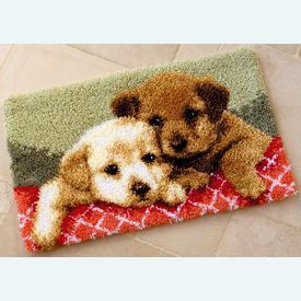 Labrador Puppies - knooptapijt Vervaco | Smyrna tapijt met labrador hondjes | Artikelnummer: vvc-143943