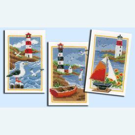 Lighthouses - set van 3 - borduurpakketten met telpatroon Vervaco |  | Artikelnummer: vvc-158159