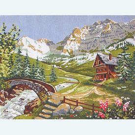 The Torrent - bundel van geschilderd stramien + borduurwol, te borduren in halve kruissteek      Artikelnummer: rp-142-357