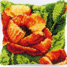 Poppy - smyrna kussen Vervaco | Knoopkussen met papaver bloem | Artikelnummer: vvc-2560-3609