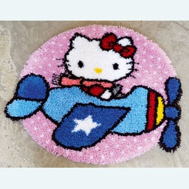 Hello Kitty as a Pilot - knooptapijt Vervaco  | Smyrna tapijt met Hello Kitty  | Artikelnummer: vvc-148639