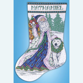 Santa and Polar Bear Stocking - borduurpakket met telpatroon Design Works | Kerstkous om zelf te maken | Artikelnummer: dw-5986