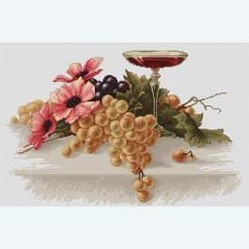Flowers and Grapes - borduurpakket met telpatroon Luca-S |  | Artikelnummer: luca-b214