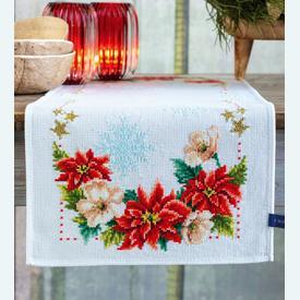 Christmas Flowers tafelloper -  borduurpakket met telpatroon Vervaco |  | Artikelnummer: vvc-155487
