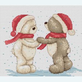 Teddy Bruno & Bianca - Christmas Hats - borduurpakket met telpatroon Luca-S |  | Artikelnummer: luca-b1015