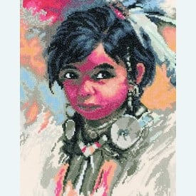 Indian Girl - borduurpakket met telpatroon Lanarte |  | Artikelnummer: ln-35005a