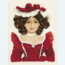 Doll in Red Dress - borduurpakket met telpatroon Vervaco |  | Artikelnummer: vvc-75032