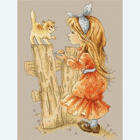Girl with Kitten - borduurpakket met telpatroon Luca-S |  | Artikelnummer: luca-b1106