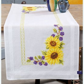 Sunflowers loper - voorgedrukt borduurpakket - Vervaco |  | Artikelnummer: vvc-147030