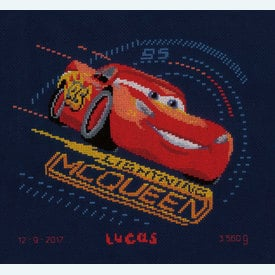 Cars - Lightning McQueen with Screeching Tires - Disney borduurpakket met telpatroon Vervaco  |  | Artikelnummer: vvc-167543