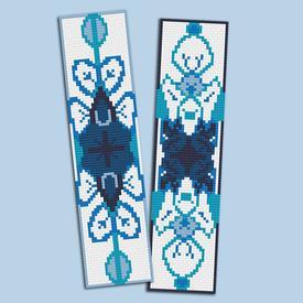 Set van 2 bladwijzers - Mandala Blue - borduurpakketten met telpatroon Nafra |  | Artikelnummer: nf-nafra21045