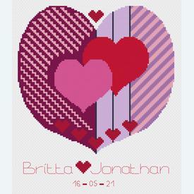 Two Hearts United - borduurpakket met telpatroon Nafra |  | Artikelnummer: nf-nafra21048