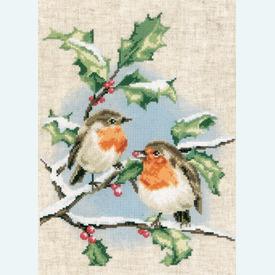 Winter Robins - kruissteekpakket met telpatroon Vervaco |  | Artikelnummer: vvc-170739