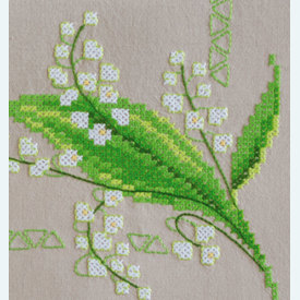 Lily of the Valley theenap - voorgedrukt borduurpakket - Vervaco |  | Artikelnummer: vvc-178209
