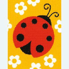 Ladybug - halve kruissteekpakket Vervaco | Handwerkpakket voor kinderen, te borduren op geschilderd stramien, in halve kruissteek  | Artikelnummer: vvc-9703
