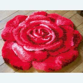 Red Rose - knooptapijt Vervaco | Smyrna tapijt met rode roos | Artikelnummer: vvc-171003