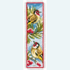 Set van 2 bladwijzers - Birds in Winter - Handwerkpakketten met telpatroon Vervaco |  | Artikelnummer: vvc-151005