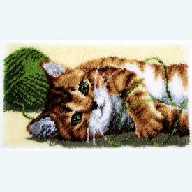 Playful Cat - knooptapijt Vervaco | Smyrna tapijt met spelende poes | Artikelnummer: vvc-150219