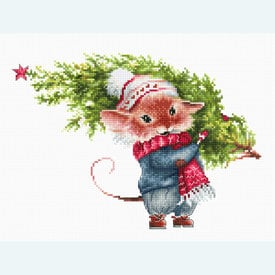 Mouse with Tree - borduurpakket met telpatroon Luca-S |  | Artikelnummer: luca-b1169