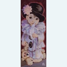 Pierrot Pio - bundel van geschilderd stramien + borduurwol, te borduren in halve kruissteek      Artikelnummer: rp-137-078