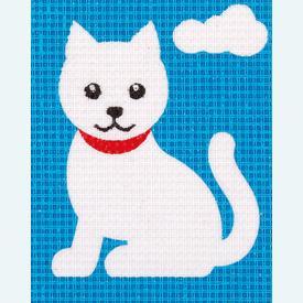 Cat - halve kruissteekpakket Vervaco | Handwerkpakket voor kinderen, te borduren op geschilderd stramien, in halve kruissteek  | Artikelnummer: vvc-9580