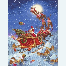 Reindeers on their Way - borduurpakket met telpatroon Letistitch |  | Artikelnummer: leti-958