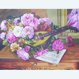 Roses Bunch - bundel van geschilderd stramien + borduurwol, te borduren in halve kruissteek |  | Artikelnummer: rp-142-507-bundel