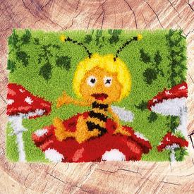 Maya on the Mushroom - knooptapijt Vervaco Maya de bij | Smyrna tapijt met Maya de bij op een paddestoel | Artikelnummer: vvc-155179