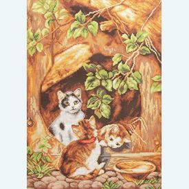 Playful Kittens - bundel van geschilderd stramien + wol, te borduren in halve kruissteek |  | Artikelnummer: orch-2730-bun