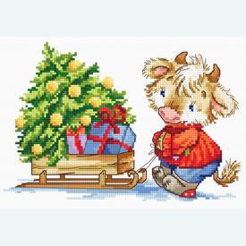 Calf with Christmas Tree - borduurpakket met telpatroon Luca-S |  | Artikelnummer: luca-b1181