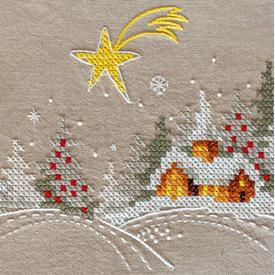 Winter Landscape with Star loper - voorgedrukt borduurpakket - Vervaco |  | Artikelnummer: vvc-180115
