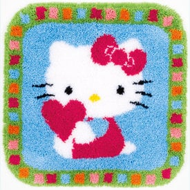 Hello Kitty with Heart - knooptapijt Vervaco  | Smyrna tapijt met Hello Kitty  | Artikelnummer: vvc-153808