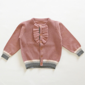 Cardigan with Frill, 1 Year | 100% Cashmere, Colour: Cameo Rose | Code: PLM-10055