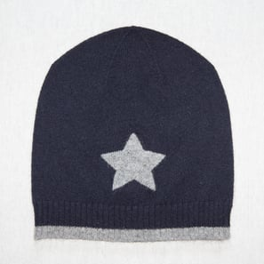 Hat with Star | 100% Cashmere, Colour: Dark Navy | Code: 0716AH010156XXX