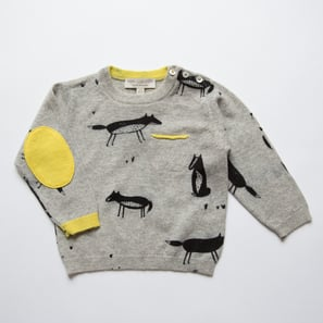 Jumper with Fox Print | 100% Cashmere, Colour: Light Grey Mélange | Code: 0716BJ0401810XXX
